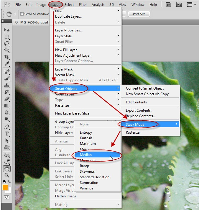 photoshop smart object stack mode disabled