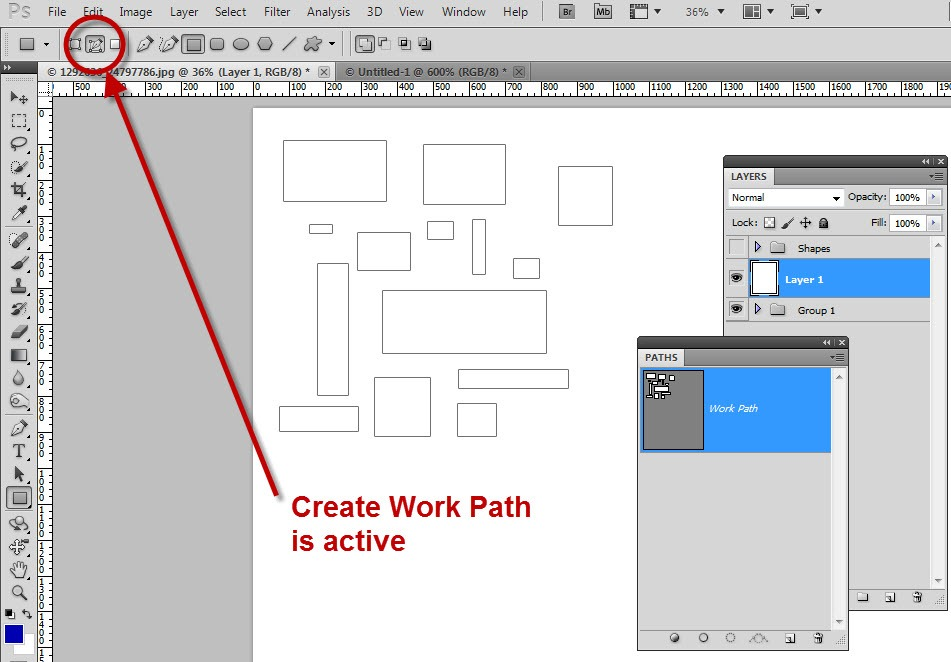 How to create work path in photoshop cs6