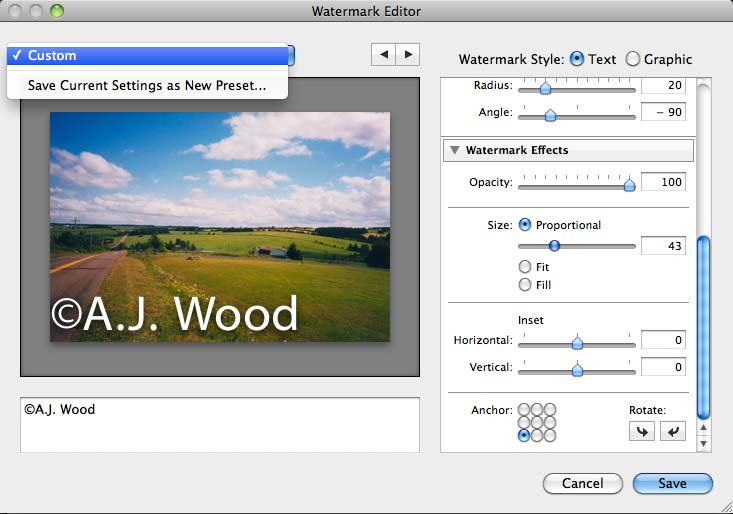 Lightroom 3 Watermark Dialogue