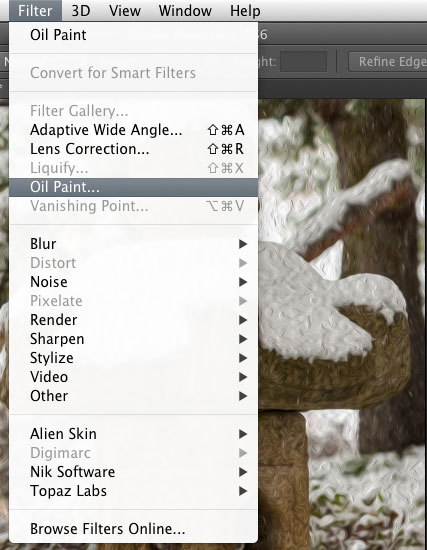 Oil Paint - Filter Menu