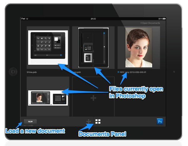 Documents Panel in Adobe Nav for iPad