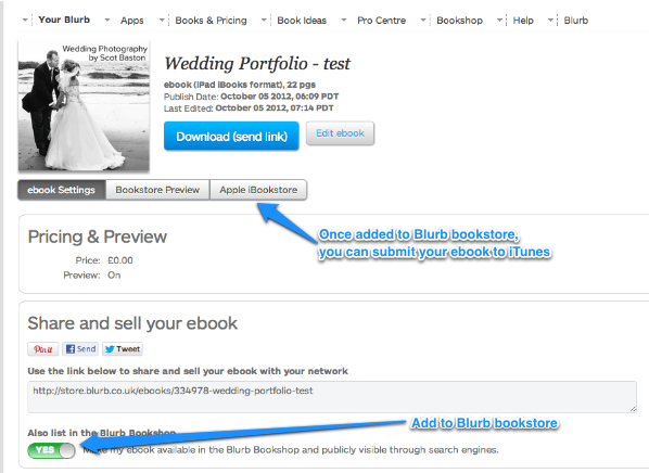 Publish to Blurb and Apple
