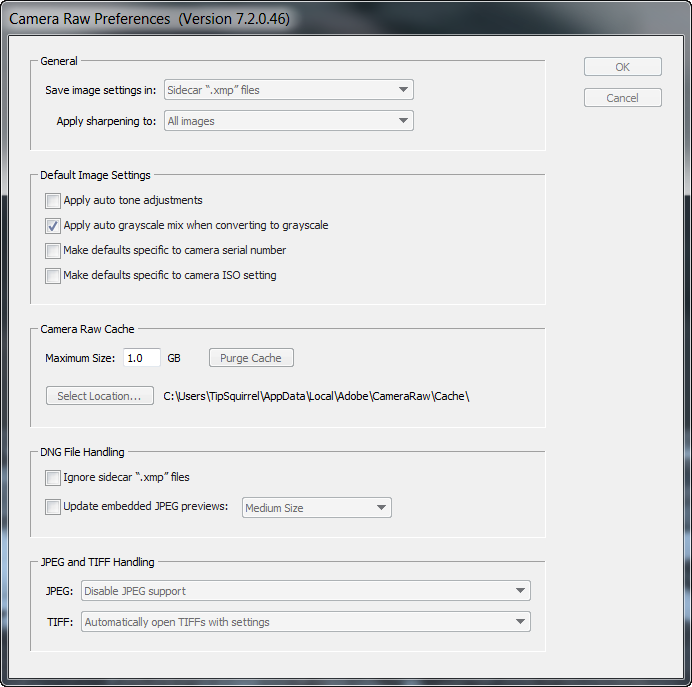 Opening JPEG and Tiff Files in Adobe Camera Raw Before
