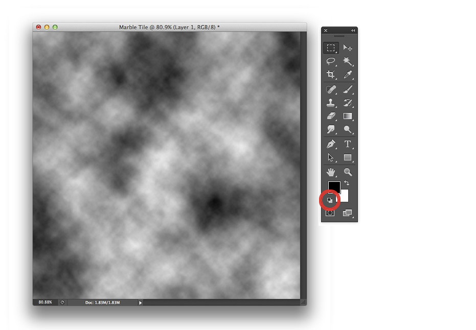 Image showing the result of the Clouds filter and Toolbox in Photoshop CS6