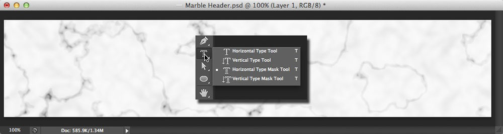 Image displaying the Photoshop Type tool options