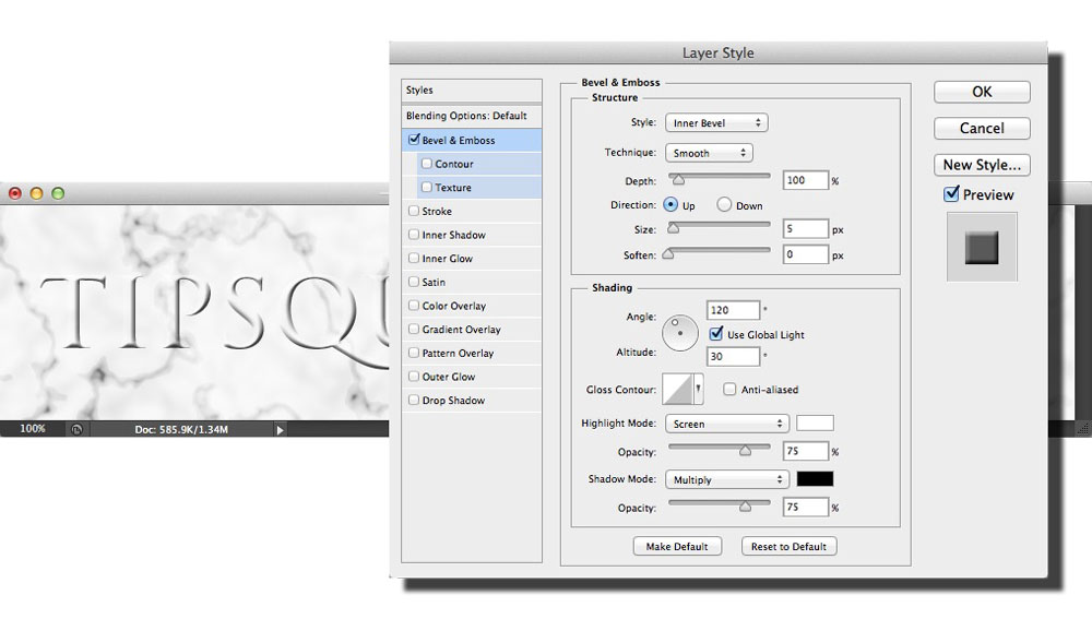 Image showing the default Bevel and Emboss settings in Photoshop