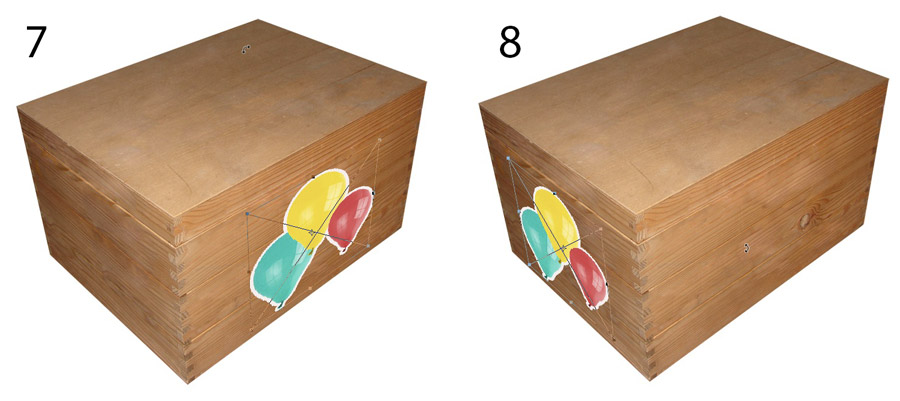 An image showing how returning to a transformed Smart Object retains the shape of the bounding box