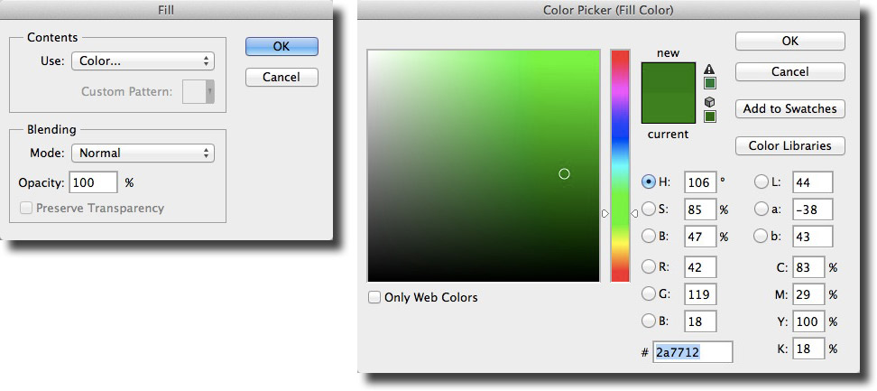 Image showing the colour picker with the shade of green selected