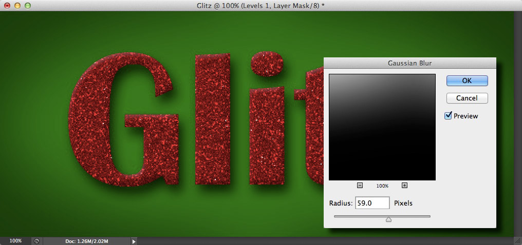 Image showing the border being blurred with the Gaussian Blur filter
