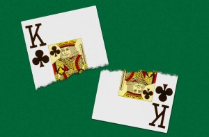 The finished image of the tutorial showing a torn playing card