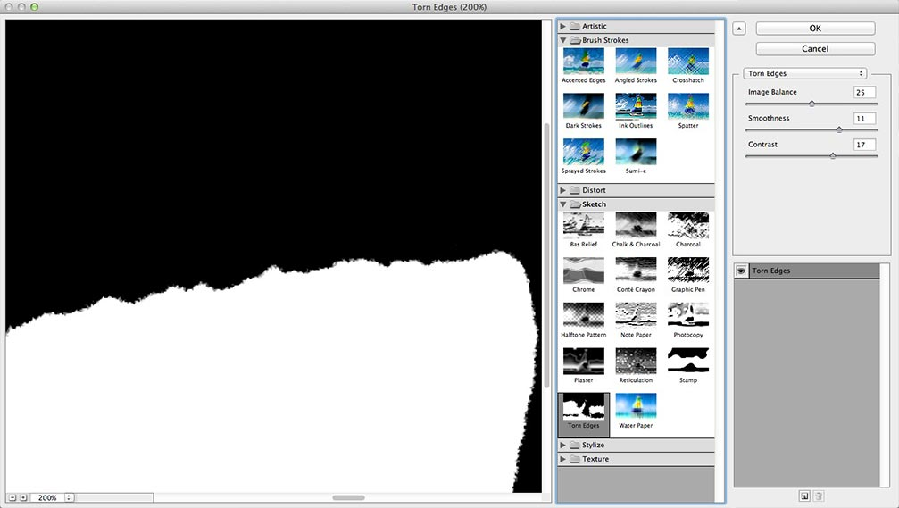 Image showing the default settings of the Torn Edges filter in the Photoshop Filter Gallery