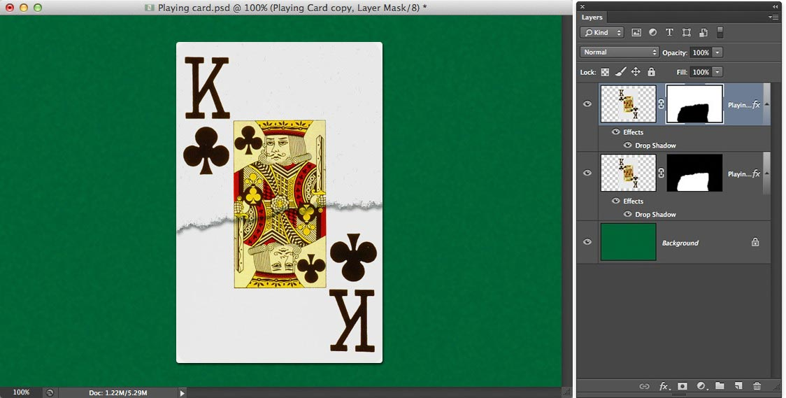 Image showing the whole playing card torn in the middle