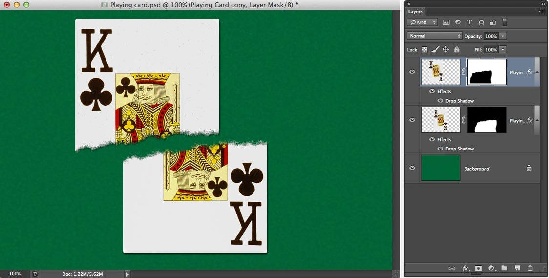 Image showing one half of the playing card offset from the other to accent the effect