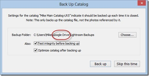 Lightroom Catalog Cloud Backup