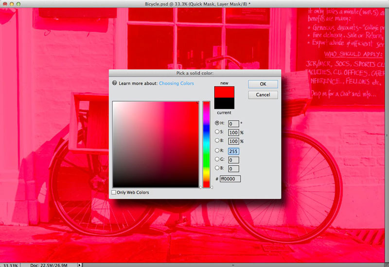 Choosing the colour of the overlay in Photoshop Elements 11