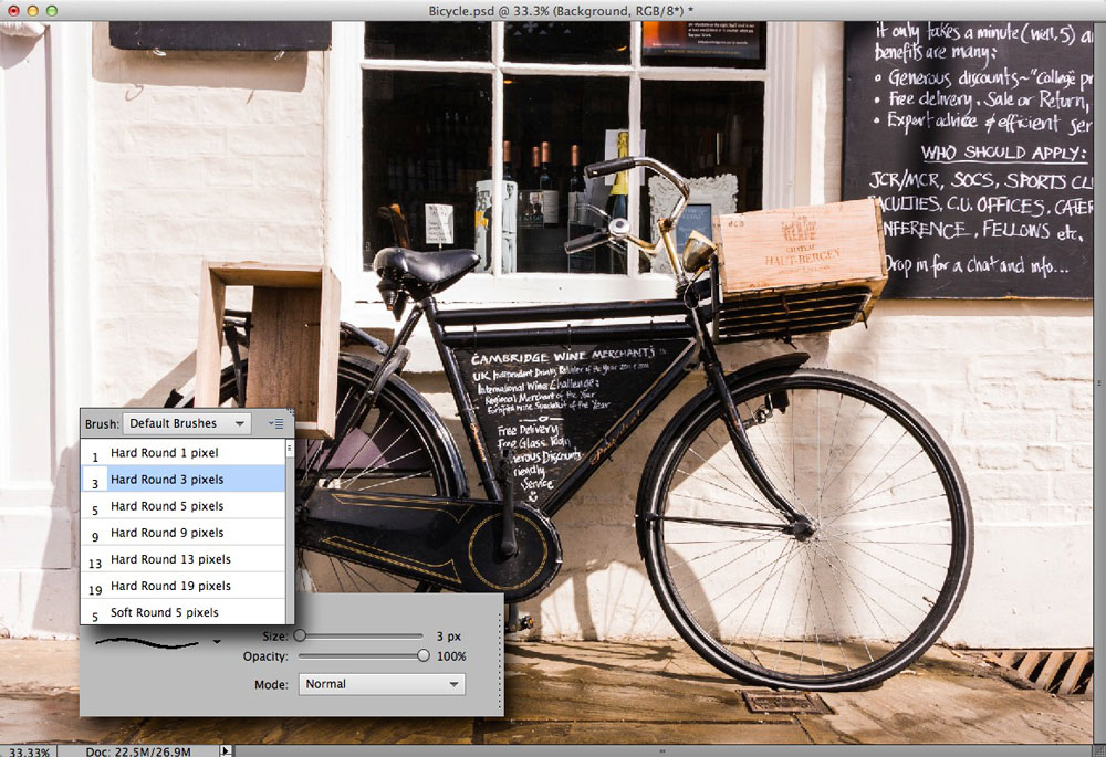 Choosing a brush preset in Photoshop Elements 11