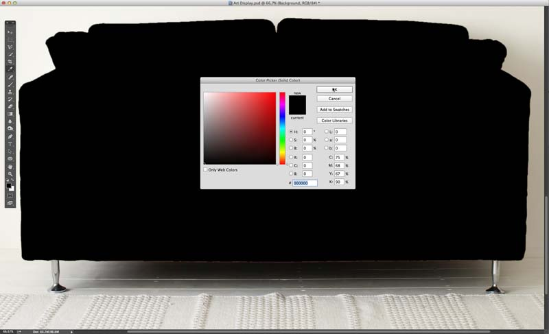 Image showing the default result of adding a Color Fill layer to the image
