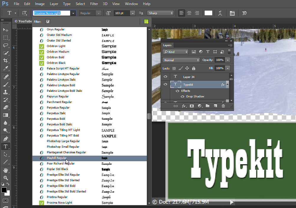 font for photoshop cc