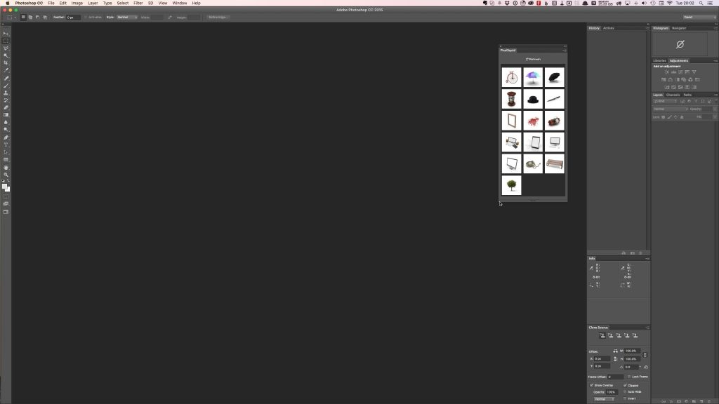 The PixelSquid extension image grid view