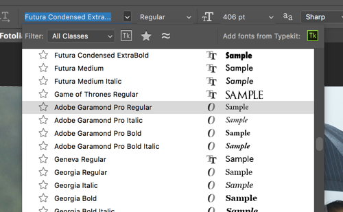 Quick Tip : Font Preview Sizes in Photoshop - TipSquirrel