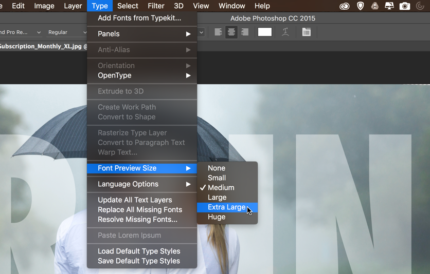 Quick tip font preview sizes in photoshop tipsquirrel fontsize02 ccuart Choice Image