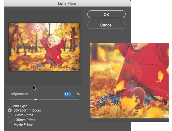 how to use lens flare in photoshop