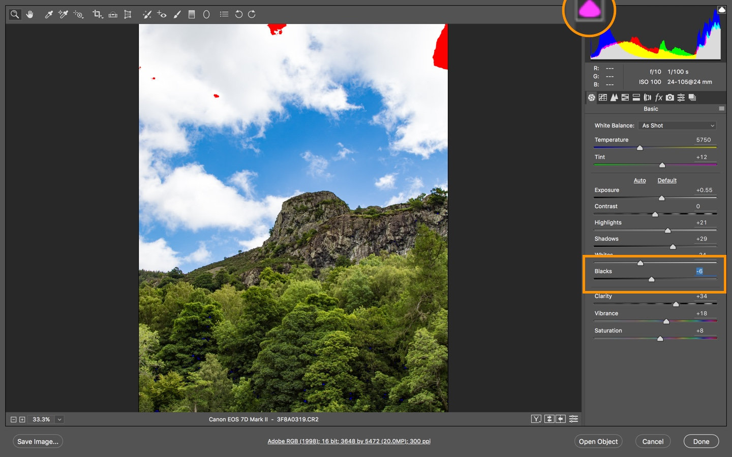 Coloured Clipping Warnings in Adobe Camera Raw and Lightroom