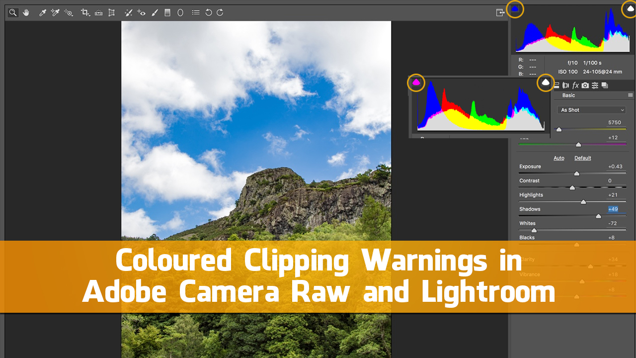 Coloured Clipping Warnings in Adobe Camera Raw and