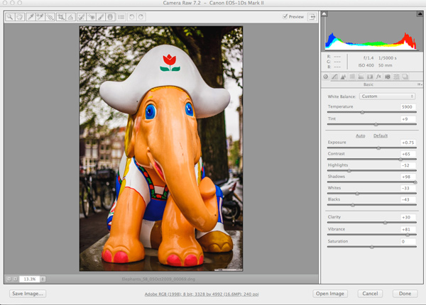 DNG file in Adobe Camera Raw with applied Lightroom Changes