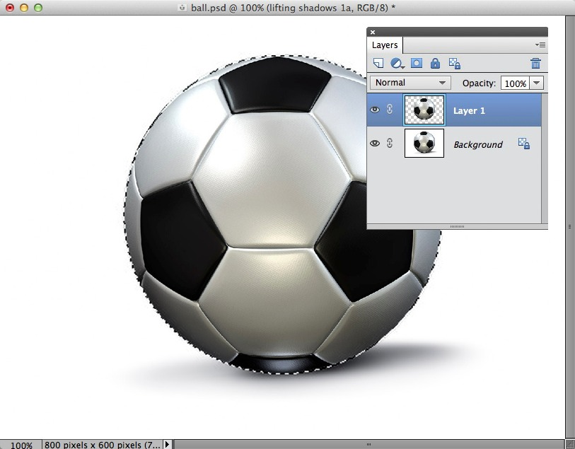 A screengrab showing a football with a selection border