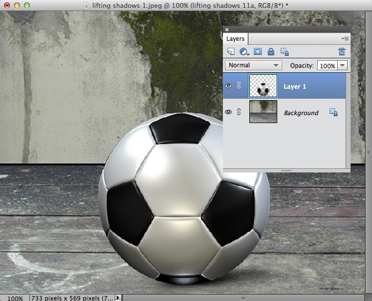 An image showing the ball in a new image against a photographic background