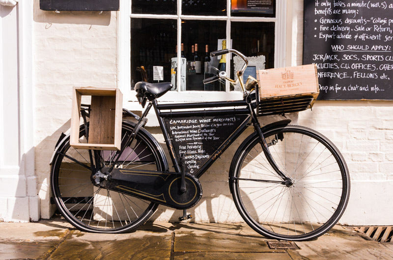 Image of a bicycle leaning against a shop wall