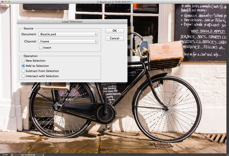 Screen grab showing the Load Selection dialog over the selected image