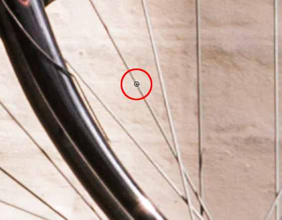 Screen grab showing the brush tip size against the spoke of the wheel