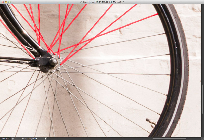 Screen grab showing several spokes highlighted in red