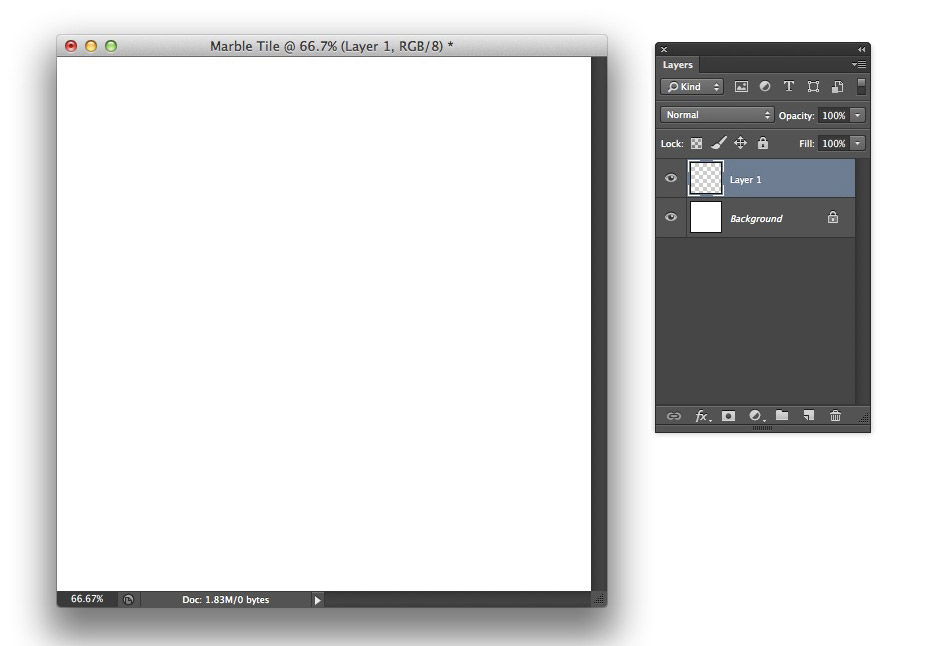 Image showing a newly created document and Layers panel in Photoshop CS6