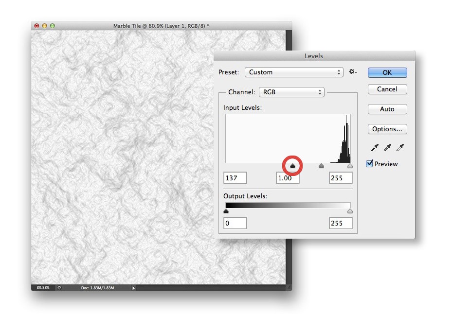 Image showing the Levels adjustment and resulting image in Photoshop CS6