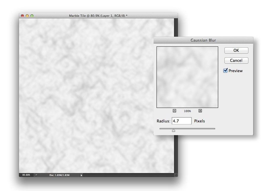 Image showing the Gaussian Blur filter and resulting image in Photoshop CS6