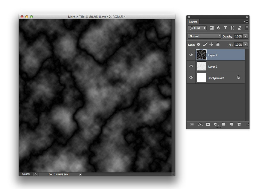 Image showing the result of running the Difference Clouds filter in Photoshop CS6