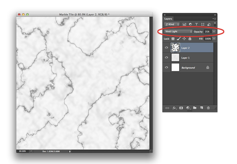 Image showing a document window and the Layers panel in Photoshop CS6