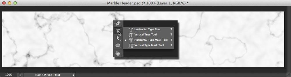 Image displaying the Photoshop Type tool options