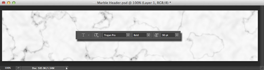 Image showing the Photoshop Type tool options