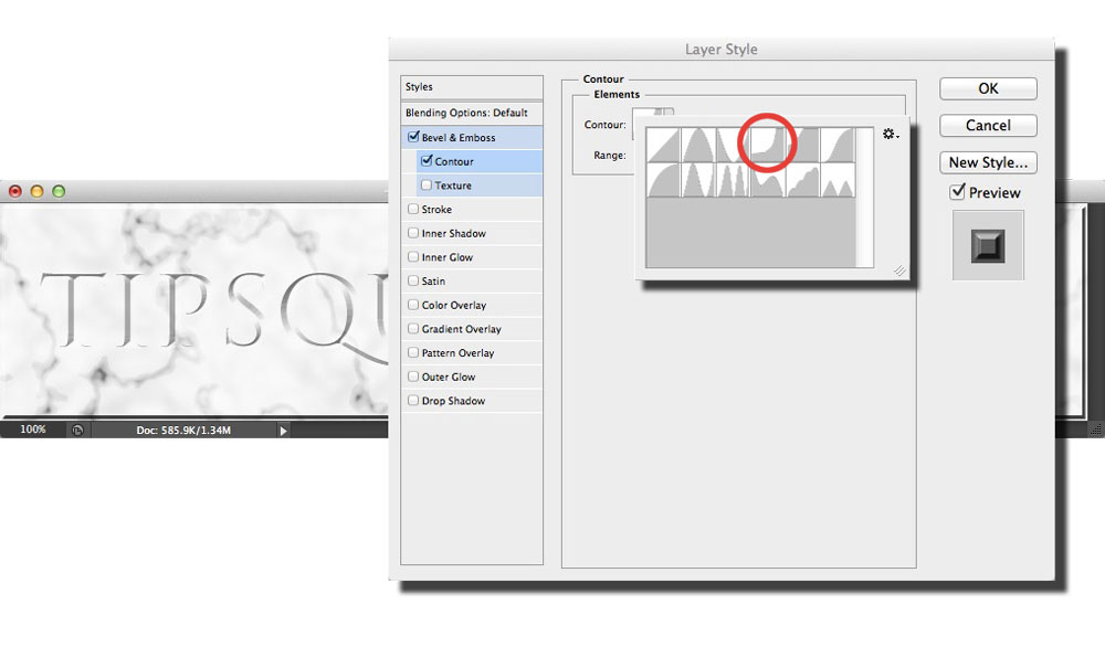Image showing the Contour settings window and the contour presets in Photoshop