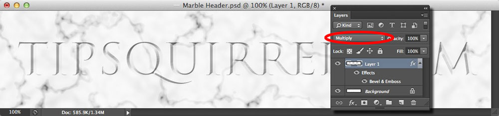 Image showing the chiseled text effect darkened with the Multiply blend mode