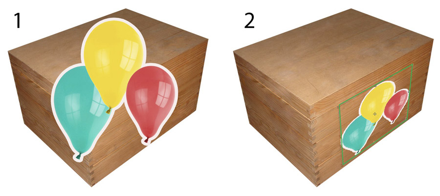 An image showing a box with a balloon decal ready to apply to the front face