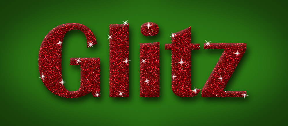 The completed glittery text image