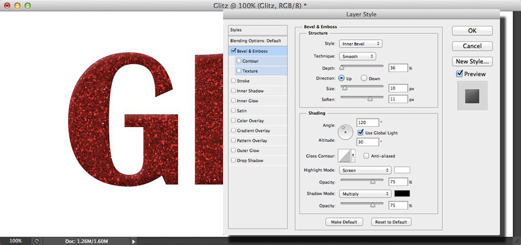 Image showing the text with a bevel applied and the Layer Styles dialog