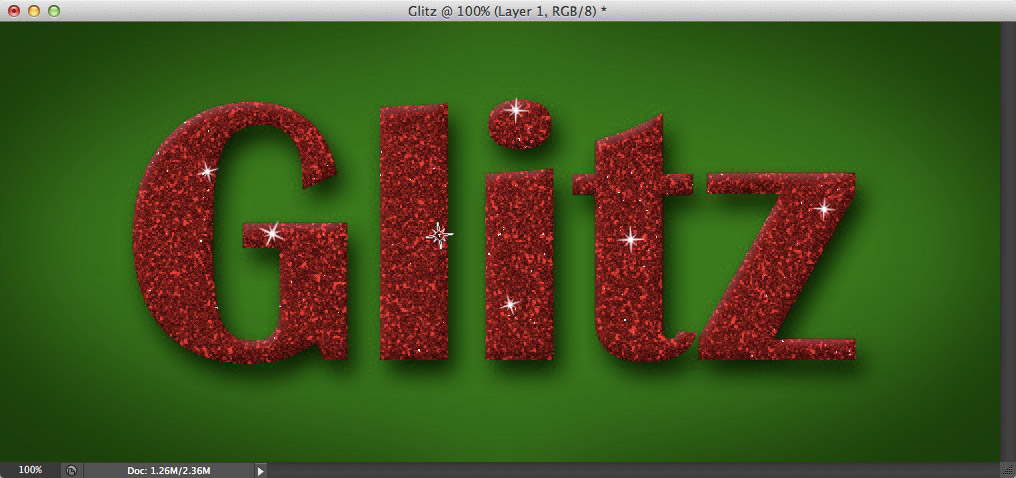 Image showing the sparkle brush being used to create catchlights on the text