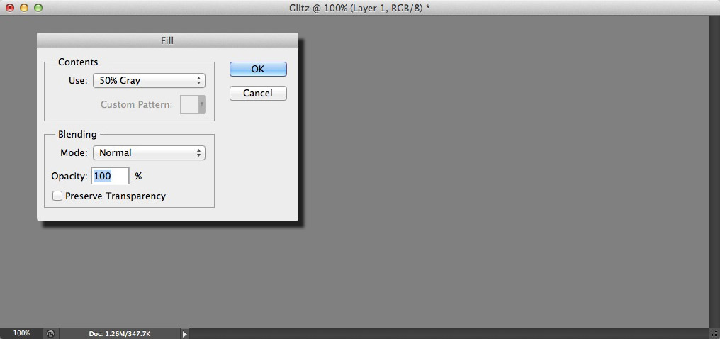 Image showing the Fill dialog and a layer filled with grey
