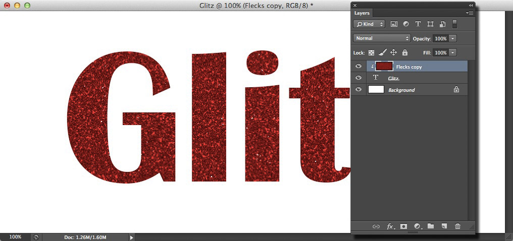 Image showing the glitter texture clipped to the text layer